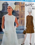 1960s  VOGUE Couturier Design 2123 Vintage Sewing Pattern GALITZINE Dress Pattern Low Waist,  Elegant Side Closing