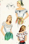 1940s Blouse Pattern Simplicity 2127  Peasant Blouse Off The Shoulder Embroidered and Ruffled Versions Vintage Sewing Pattern Bust 30 or 34