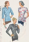 1940s STUNNING Overblouse Pattern SIMPLICITY 2144 Long Torso Style, 3 Versions Day or Evening Very Film Noir Bust 34 Vintage Sewing Pattern