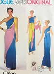 1970s FAB Chole VOGUE Paris Original 2173 Vintage Sewing Pattern Single Shoulder Evening Gown, Tie and Shawl Creating 3 Different Styles FACTORY FOLDED Bust 32.5