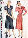 1940s SWEETHEART NECKLINE MATERNITY DRESS PATTERN VERY PRETTY DESIGN SIMPLICITY 2174