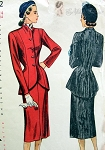 1940s FAB Suit Pattern SIMPLICITY 2182 Lilli Ann Design Like Princess Seamed Longer Length Suit Jacket and Pencil Slim Skirt Front Slit, Lovely Nipped In Waist Bust 34 Vintage Sewing Pattern