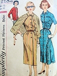 1950s SLIM SHIRTDRESS, JACKET PATTERN CLASSY FRONT BUTTON SIMPLICITY PATTERNS 2182