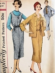 1950s Slim Dress or Jumper, Skirt and Jacket Stylish Design Details Simplicity 2189