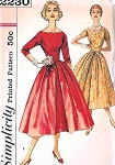 1950s BEAUTIFUL Party Dress Pattern SIMPLICITY 2230 Cocktail Evening Dress Figure Molding Bodice,Bateau Neckline Bust Bust 33 Vintage Sewing Pattern FACTORY FOLDED