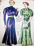 1930s  ART DECO Dress Pattern SIMPLICITY 2238 2 Lovely Style Versions Bust 32 Vintage Sewing Pattern