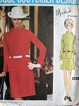 60s 2 PC DRESS PATTERN VOGUE COUTURIER DESIGN MICHAEL