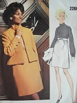 1960s Lovely Teal Traina Empire Dress and Jacket Pattern VOGUE AMERICANA 2260 Classy Daytime or Evening Vintage Sewing Pattern