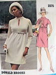 1960s FAB Donald Brooks Dress Pattern VOGUE AMERICANA 2275 High Waist Slim Dress Peekaboo Keyhole Neckline Size 8 Vintage Sewing Pattern