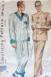 1930s MENS PAJAMAS Pattern SIMPLICITY 2289 Two Classic Thirties Styles Chest 42 Vintage Sewing Pattern FACTORY FOLDED
