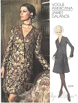 1960s Elegant GALANOS Dress Pattern VOGUE AMERICANA 2379 Day or Cocktail Evening Size 8 Vintage Sewing Pattern + Label
