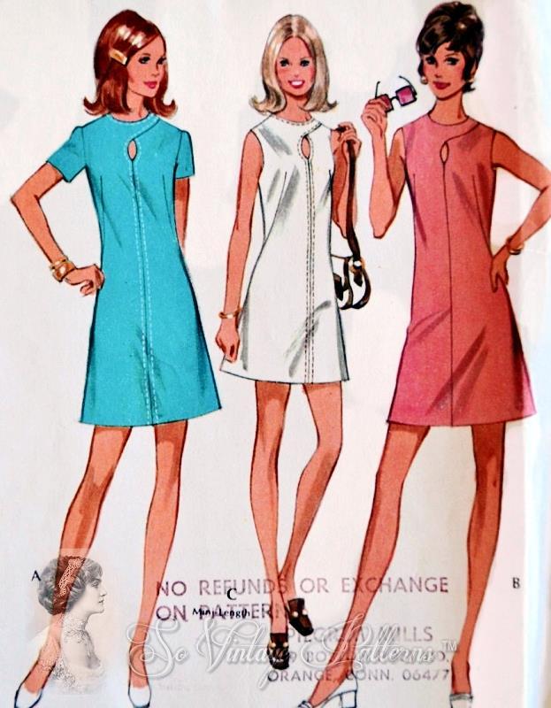 70s Sizzling Keyhole Neckline A Line Dress Patternmini Or