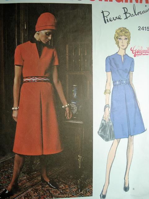 1970s A Line Dress Pattern Pierre Balmain Vogue Paris Original