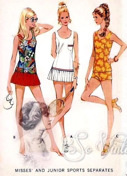 1970s Sports Separates Pattern Bathing Suit or Tennis Dress McCalls ...