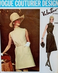 1970 ELEGANT Valentino Day or Evening Slim Dress Pattern Vogue Couturier 2439 Vintage Sewing Pattern Semi Fitted A Line Sleeveless, 2 Lengths Lovely Design
