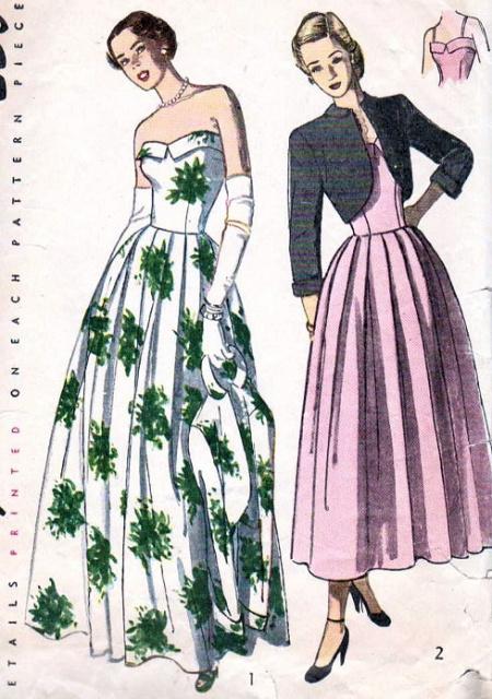 1940s Beautiful Evening Dress Bolero Pattern Cuffed
