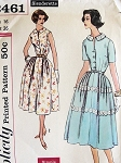 1950s Pretty Easy To Sew Dress Pattern SIMPLICITY 2461 Two Style Versions Bust 36  or 38 Vintage Sewing Pattern FACTORY FOLDED