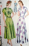 1940s BEAUTIFUL Evening Dinner Party Dress Pattern SIMPLICITY 2486 Two Lengths and Versions Bust 36 Vintage Sewing Pattern