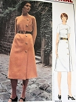 1970s MOLYNEUX SIDE BUTTON DRESS PATTERN 2 NECKLINES VOGUE PARIS ORIGINAL 2528 Vintage Sewing Pattern