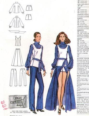 Maxi Skirt Pants Size 10 Blouse /& Sash Valentino Short-Shorts Bust 32 12 Tunic UNCUT 1970/'s Pattern Vogue Couturier Design # 2551