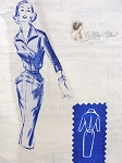 1950s Slim Chic Daytime Dress Pattern Modes Royale 255 Vintage Sewing Pattern Features Triangular Closing Bodice Front, Deep Pockets On Slim Wiggle Skirt, Flattering Wing Collar Bust 32