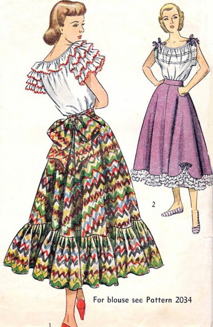 1940s Romantic Peasant Style Skirt Pattern Simplicity 2571 Flirty ...