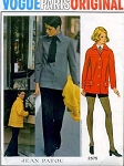 1960s JEAN PATOU JACKET, HOTPANTS, PANTS, SHIRT PATTERN VOGUE PARIS ORIGINAL 2575