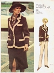 1970s CLASSY Bill Blass 3 Pc Suit Pattern VOGUE Americana 2602 Vintage Sewing Pattern Straight Leg Pants, Fitted Jacket Blazer Slim Front Slit Skirt Bust  34 UNCUT + Label