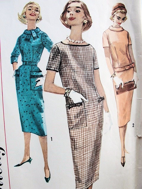 1950s Slim Dress Pattern Straight Style 3 Versions Simple