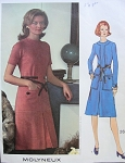 1970s MOLYNEUX DRESS PATTERN SEMI FITTED, LARGE POCKETS VOGUE PARIS ORIGINAL PATTERNS 2626
