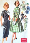 1950s SIMPLICITY 2646 Rockabilly Sheath or Full Skirt Dress Detachable Bow Collar Vintage Sewing Pattern Bust 38 Simple To Make