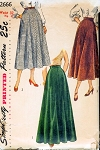 1940s BEAUTIFUL Flared Skirts Pattern SIMPLICITY 2666 Ballerina or Evening Floor Length Vintage Sewing Pattern