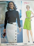1970s Chic Molyneux Slim Dress Pattern Vogue Paris Original 2692 Striking Design Day or Cocktail Dress Bust 32.5 Vintage Sewing Pattern