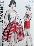 1960s BEACH WEAR PATTERN TOP, SHORTS, FRONT BUTTON SKIRT ADVANCE 2824