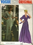 1970s FABULOUS Nina Ricci Evening Gown Maxi Dress Pattern  VOGUE PARIS ORIGINAL 2886 Plunging V Neckline Dress and Slip Bust 34 Vintage Sewing Pattern