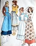 McCalls 2925 Apron Pattern Vintage 70s Sewing Pattern Boho Housewife Modest Bib, Pinafore Apron 4 Romantic Styles Medium size