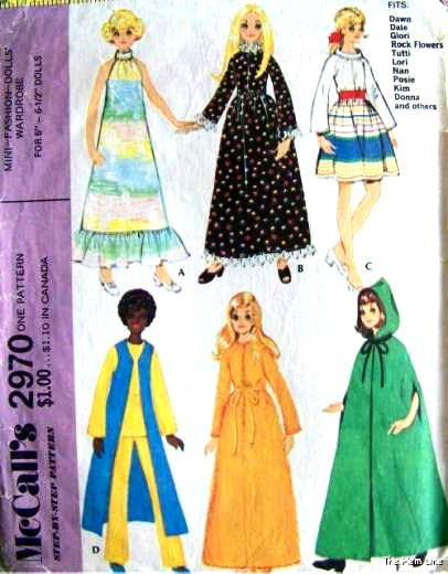 1970s McCalls 2970 Doll Clothes Vintage Sewing Pattern Doll Clothing ...