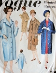 1950s SLIM STRAIGHT COAT PATTERN VOGUE BASIC COAT DESIGN 3003