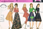 70s RETRO Set of Circular Skirts and Appliques Pattern McCALLS 3029 Disco Mini to Maxi Length Waist 24 Vintage Sewing Pattern UNCUT