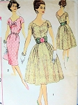 SIMPLICITY 3045 VINTAGE DRESS PATTERN COCKTAIL PARTY STYLE, SLIM or FULL SKIRT, LOVELY SCALLOPED V NECKLINE