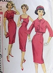 1960s  SEDUCTIVE Cocktail Sheath Dress and Jacket Pattern  SIMPLICITY 3062 Mad Men Slim Figure Show Off Style, Back Button Lace or Crop Jacket Vintage Sewing Pattern Bust 34
