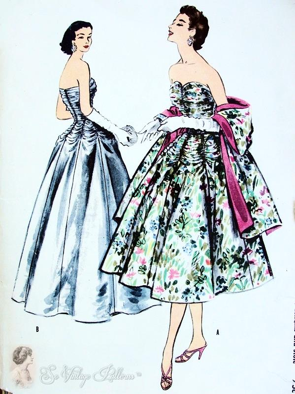 Beautiful 1950s Formal Gala Event Evening Gown and Stole Pattern ...