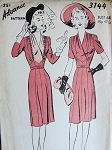 1940s DRESS PATTERN FLATTERING SURPLICE BODICE, DRAPED V NECKLINE ADVANCE 3144