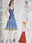 1940 SLIP, CAMISOLE, HALF SLIP PATTERN PRETTY STYLES SIMPLICITY 3164 PATTERNS
