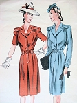 1940s STYLISH Tailored Dress Pattern VOGUE COUTURIER DESIGN 316 Classic Forties Style Bust  32 Vintage Sewing Pattern