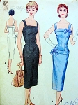 1950s  Slim Cocktail or Sun Dress Pattern Figure Molding Ava Gardner Style McCalls 3186 Vintage Sewing Pattern UNCUT Bust 30