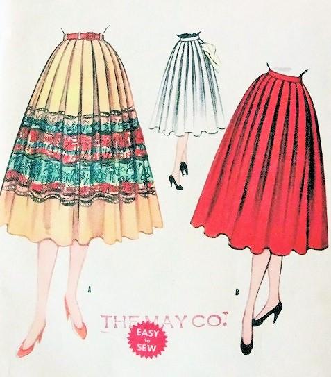 1950s Skirt Pattern Easy To Sew McCalls Full Skirt Soft Pleats ...