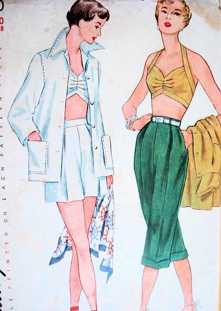1950s Beach Wear Pattern Pin Up Halter Bra Top Wing