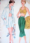 1950s  Beach Wear Pattern Pin Up  Halter Bra Top, Wing Collar Beach Jacket,  High Waist Shorts or Pedal Pusher Capri Length Pants Simplicity 3250 Vintage Sewing Pattern Bust 32