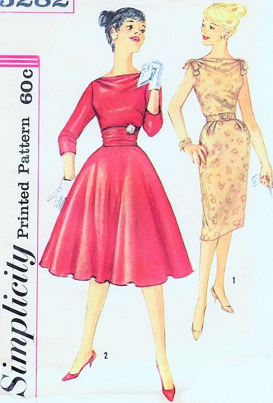 1960s Cocktail Party Special Occasion Dress Pattern Bateau